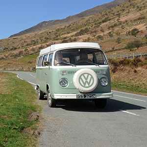 Bessie our Classic & Vintage retro VW Bay window Type 2 (T2) Camper van for Hire in Snowdonia North Wales