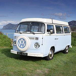 Nell our Classic & Vintage retro VW Bay window Type 2 (T2) Camper van for Hire in Snowdonia North Wales