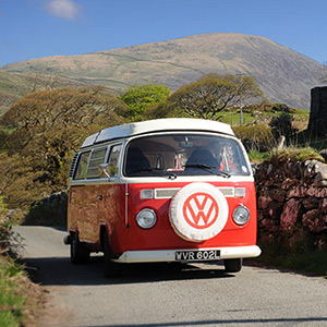 Poppy our Classic & Vintage retro VW Bay window Type 2 (T2) Camper van for Hire in Snowdonia North Wales