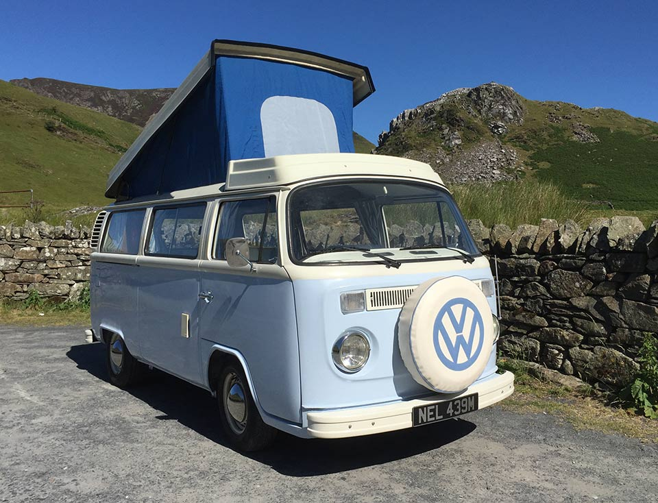 Nell our 1973 VW classic retro Bay window Type 2 (T2) camper van for hire