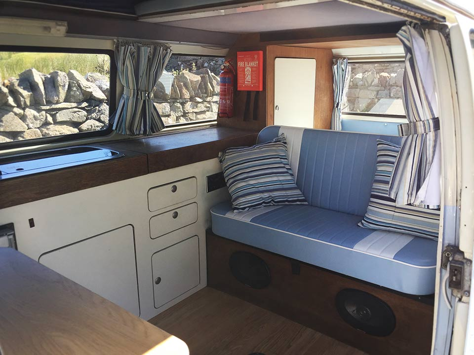 Interior of Nell our 1973 VW classic retro Bay window Type 2 (T2) camper van for hire