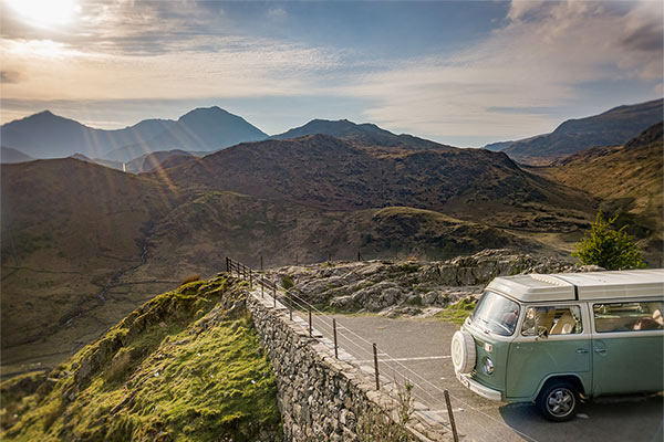 Our campervan Bessie at Snowdon viewpoint