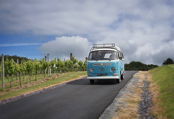 Our campervan Lola in a vineyard