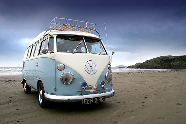 Lucy our VW splitscreen campers on the beach