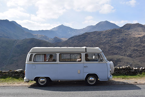 view of Snowdon with Nell our campervan